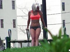 milf, blonde, outdoor, spying, peeping, hot round ass, dee, pervs on patrol, mofos cash