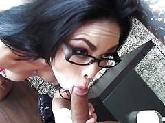 Bespectacled whore makayla gives head and strips