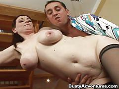 Lucky guy fucking a black haired milf