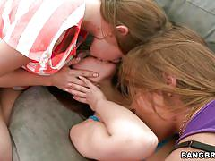 teens, small tits, big boobs, lesbian threesome, pussy licking, couch, brunette, undressing, fingering vagina, hard nipples, 3 girls, mercedes lynn, cassie laine, alena smile, party of three, bang bros
