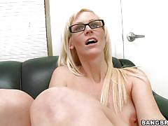 Busty blonde masturbate and suck cock