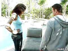 Sexy latina with curly hair making out outdoor