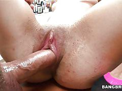 Brunette rides cock and gets hot cum on her face