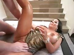 Kiara mia big tits oiled up then fucked by big white cock