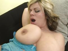 Superb busty mother gets taboo sex with young son