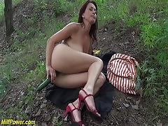 Milf outdoor interracial big dick fucked