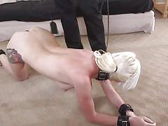 Naughty blonde slave is dominated