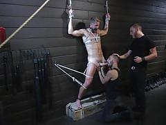 ball gag, bdsm, cock torture, rope bondage, threesome, domination, blowjob, electric, chastity, tattooed, men on edge, kink men, wesley woods