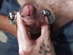 Sexy tied up gay slave is let out of chastity