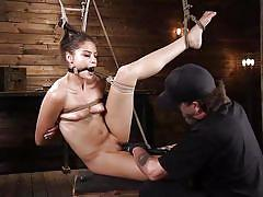 bdsm, babe, fingering, brunette, suspended, ball gag, rope bondage, electric vibrator, hogtied, kink, avi love
