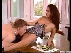Sexy brunette fucked on the table