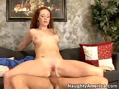 red head, tattoos, shaved, deepthroating, facial, fake tits, milf, anal, father, head