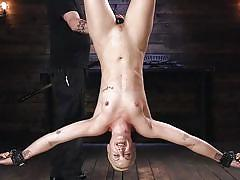 Blonde slave is upside down