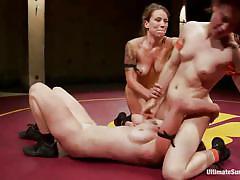 Intense lesbian naked wrestling