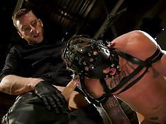 bdsm, cock torture, sex slave, big cock, masked, domination, tattoo, blowjob, metal clamps, bound gods, kink men, sebastian keys, dane stewart