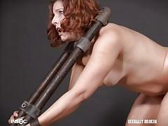 bdsm, babe, redhead, from behind, bondage device, metal bondage, standing sex, sexually broken, kel bowie