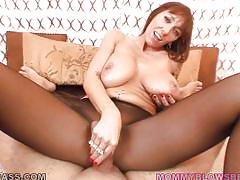 Horny mommy gets a big load