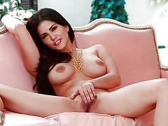 masturbating, brunette, nice tits, spread legs, squeezing tits, long sexy legs, sunny leone, twistys, twistys cash