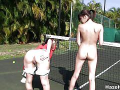 Naughty teens having fun on the tenis field
