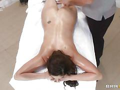 Dirty masseur takes the full control of the sexy brunette's body