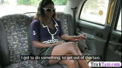 Slutty ebony fucked by the fraud driver in the backseat