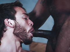 interracial, double blowjob, threesome, muscular, tattooed, bbc, noir male, noah donovan, jacen zhu, max adonis