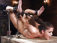 Chained, cuffed and fucked with a dildo
