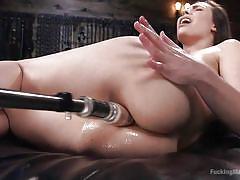 tattoo, babe, solo, fucking machine, bubble butt, painful anal, brunette, dungeon, anal insertion, fucking machines, kink, casey calvert