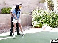 Amateur milf golfer has an ass hole in one