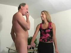 Cute blonde gives handjob