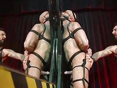 gays, tattooed, bound, rope bondage, cock torture, whipping, gagged, anal hook, sucking cock, bound gods, kink men, jessie colter, teddy bryce