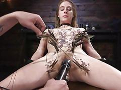 bondage, bdsm, babe, torture, domination, crying, fetish, vibrator, dildo fuck, hot wax, clothes pins, device bondage, kink, cadence lux