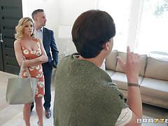 Jessa sucks salesman's cock while her husband looks around