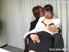 Yuuka oosawa office girl sex hot japanese whore shows white panties over a desk