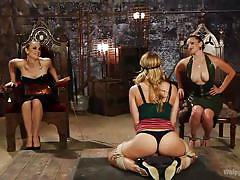 milf, blonde, threesome, bondage, bdsm, latex, round ass, whipping, blindfolded, brunette, tied up, licking feet, whipped ass, kink, carissa montgomery, bella rossi, chanel preston
