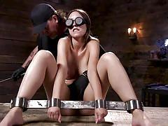 Helpless jade nile in hard metal bondage