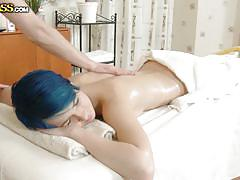 Oiled babe gets a special massage