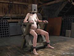 bdsm, tits torture, basement, bondage device, shackles, box on head, restraints, infernal restraints, ashley lane