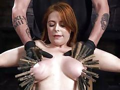 bdsm, big tits, babe, redhead, vibrator, tit torture, clothespins, rope bondage, hogtied, kink, penny pax