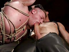 ball gag, bdsm, torture, whipping, rope bondage, big cock, deepthroat, domination, suspended, bound gods, kink men, pierce paris, blake hunter