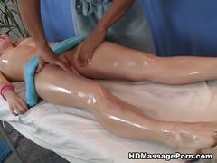 Blonde having oil massage
