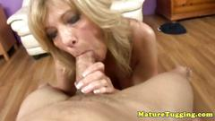 Loving blonde granny gives a tasty blowjob