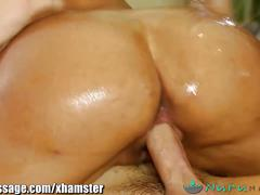 Nurumassage busty latina slides all over cock