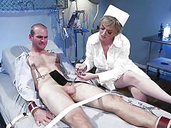 Cruel bitchy nurse tortures his cock