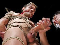 ball gag, bdsm, balls sucking, handjob, rope bondage, big cock, threesome, domination, blowjob, men on edge, kink men, sherman maus