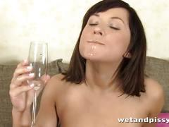 Glass table piss play and pee drinking with gertie
