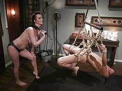 Hot bdsm action with kinky rope bondage for zoe sparx