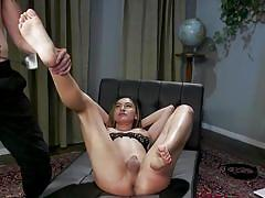 Shemale slave takes it deep in the ass