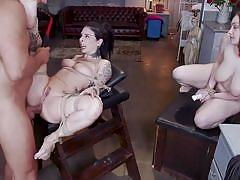 milf, threesome, anal, bdsm, big tits, babe, vibrator, tattooed, ball gag, electric wand, rope bondage, mff, kink, ramon nomar, joanna angel