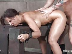 Busty milf syren de mer chokes on dick while getting fucked from behind